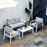 Outsunny® 4-tlg. Gartenmöbel-Set Beistelltisch Doppelsofa 2 Einzelnsofa mit Kissen Alu