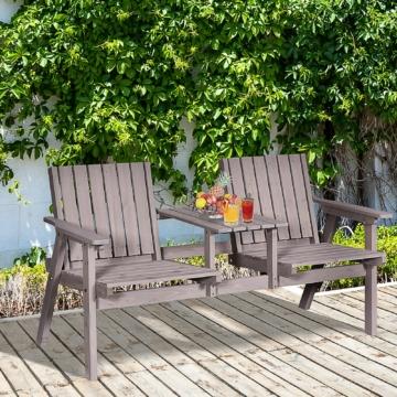 Outsunny® Gartenbank mit Tisch Gartenmöbel mit Regenschirmloch Sitzbank Balkon Massivholz