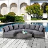 Outsunny® Gartenmöbel Set Gartensofa Fünfteilige Lounge Beistelltisch 8 Kissen Rattan Grau