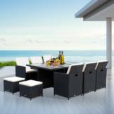 Outsunny® Polyrattan Gartenmöbel 27 tlg. mit Kissen Alu Schwarz