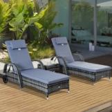 Outsunny® Sonnenliege Gartenliege Tisch 3er-Set Gartenmöbel Polyrattan + Metall Grau höhenverstellbar