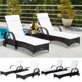 Sonnenliege Gartenliege Tisch 3er Set Gartenmöbel, Polyrattan+Metall